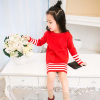 best sweater dresses - Girl Dress Best Suits Child Clothes Kids Clothing Autumn Crochet Sweater Pencil Skirts Children Set Kids Suit Outfits Lovekiss C27958