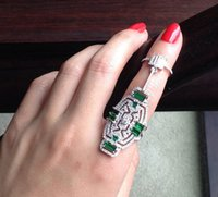 big emeralds - 925 Sterling Silver Plated Ring Luxury High Quality Full Green Austria Crystal Emerald Gem Big Silver Party Ring ZN