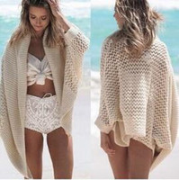 beach coverups - Sexy Lady Women Knitted Hollow Out Bathing Suit Bikini Cover Up Casual Beach Crochet Cardigan Knitting Tops Coverups Sweater hight quality f