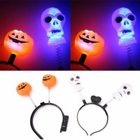 Wholesale LED Light Up Hairband Headband Pumpkin Skull Flashing Party Xmas Gift Halloween Decoration Free Drop Shipping