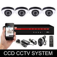 Sistema de seguridad de la bóveda del ccd Baratos-4CH sistema de seguridad sistema de cámara Cámara CCTV DVR Kit sistema de cámara de la bóveda del CCD 700TVL del dvr 3en1