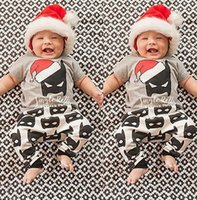 Wholesale 2017 Baby Christmas Outfits Kids Cartoon Batman Christmas hat shirt trousers set Girl Boy Super Hero Casual Clothes for T