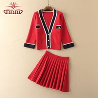 amd fashion - red amd blue knitted cardigan top and pleated skirt two pieces set for woman autumn high quality