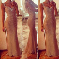 Wholesale Classic Golden double Shoulder Prom Dresses sleeveless See Through Mermaid Shape Cheap In Stock In Stock Women Formal Party Wear dress