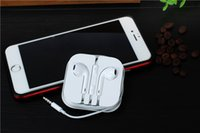 Wholesale iPhone6 plus Earphone iphone5 se Headphone White Headset Ear buds mm Stereo Handsfree with Remote Mic Earphones with retail box