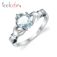 aquamarine fine jewelry - Women Genuine Aquamarine Claddagh Ring Real Pure Sterling Silver Hand Heart Love Engagement Fine Jewelry High Quality Gifts