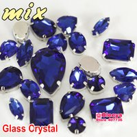 Wholesale Sapphire Cobalt Mixed Shapes Mixed Sizes Sew On Rhinestone with Claw Glass Crystals Sewing Stone For Clothes Decoration Y3509