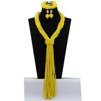 anniversary knitting - Fashionable Knitting African Jewelry Sets for Women Beads Plain Heart Floral Pearl Crystal Acrylic Yellow Girls Necklaces for Gift