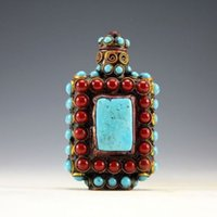 antique cloisonne beads - Chinese Old Tibet Silver Cloisonne beads beautiful turquoise snuff bottle