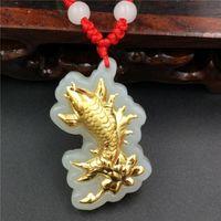 Wholesale Hot style Hetian white jade and K gold pendant necklace D Carp and lotus Pendant size cm cm cm Charms