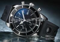 Mens vendedor nueva en la caja de lujo del océano Superocean Patrimonio Chrono Negro para hombre del cronógrafo de cuarzo Fecha reloj hombres de goma del deporte Wr