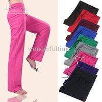 Wholesale Women Lady Cotton Yoga Sport Drawstring GYM Long Pants Trousers Straight Leg