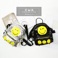 school bags - CMK KB164 Cute Emoji Smiley Face Backpack Black and Silver Sequence Material for Girls Kids Fashion School Bags Children Bag Two Colors