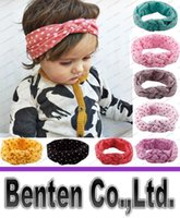 baby safe fabric - new Children s Headband European female baby knitting cross hair band Cotton fabric elasticity Manual Safe knot dot headband LLFA