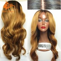 Wholesale 7A Grade Brazilian ombre human Hair body wave Full Lace Wig Long Blonde Human Hair Wig
