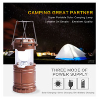 Wholesale 6 LED Hand Portable Lamp Collapsible Solar Lantern Tent Light for Hiking Camping Emergencies Outdoor Lighting