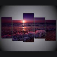 Wholesale Sea Poster Landscape - 5 Pcs Set Framed Printed greece ionian sea evening sky Painting on canvas room decoration print poster picture canvas Free shipping ny-4953
