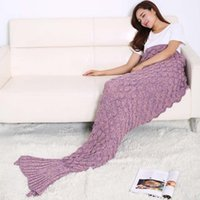 anti cling - Foreign Trade New Pattern Scale Grain Mermaid Knitting Fish Tail Cling To Cotton Blanket Sofa Air Conditioner Carpet Other dimensions Twin