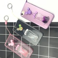 Wholesale 3D Cute Feeding bottle quicksand Back Cover Case Soft TPU Clear Transparent Cover With Strap For Iphone7 plus