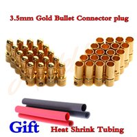 Wholesale 20pairs mm RC Gold Bullet Connector Battery ESC Banana Plug with Heat Shrink Tubing