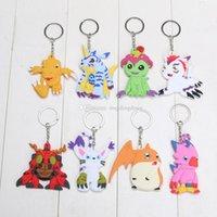 Wholesale 8pcs set Anime Digimon Adventure Agumon Patamon Tailmon Gomamon Piyomon Gabumon PVC pendant Keychain set approx cm