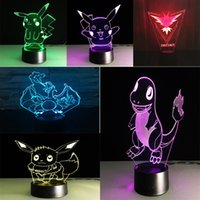 abs lights - 2016 new D ABS base poke Night Lights Pikachu LED touch switch table lamp fashion Sleep night light styles C1298