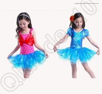 ballet clothes shoes - Mermaid Frozen Girls Lace Dress Crystal shoes Cinderella fish scale Short sleeve Ballet dresses cosplay Costume clothes OOA106