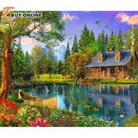 art cabin - Lakeside cabin home decor diy diamond painting full diamond embroidery mosaic pictures of rhinestones landscape wall art D070