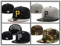 baseballs brim - Pirates Fitted Caps Embroidered Team Logo Black Pittsburgh Baseball Cap Cool Base Full Closed Flat Brim Hip Hop Caps Size7