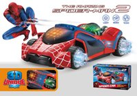 Wholesale Super Power D light music electric universal spider man car toy LED luminous sound Fighting vehicle toys kids child gift