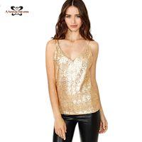 active sku - 2016 Summer Women Tops Shining Gold Sequins Tanks Blusa Straps Vest Night Club Sexy Sequins Vest Camisole SKU