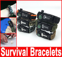 Wholesale Survival Bracelet Whistle Buckles - Survival Bracelets Flint Fire Starter Paracord Whistle Gear Buckle Camping Ignition Equipment Resure Rope Escape Bracelet Whistle Compass Ki