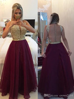 Wholesale Sexy Burgundy Prom Dresses Chiffon Lace Scoop Neck A line Floor Length Illusion Back Beaded Covered Buttons Evening Gowns Real Picture