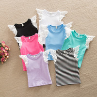 Wholesale 2016 summer new INS children T shirts girls lace fly sleeve T shirt tops kids stripe tops children best dress tops babies clothing A8531