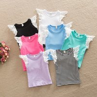 best baby clothing brands - Children T shirts girls lace fly sleeve T shirt tops summer new INS kids stripe tops children best dress tops babies clothing A8531
