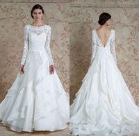 beautiful mona lisa - Sareh Nouri Fall Lace Wedding Dresses Beautiful Cascading Layers A line Floor Length Bridal Long Sleeves Bateau Neckline Mona Lisa