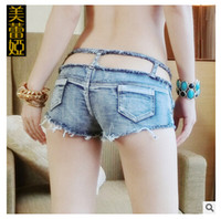 Wholesale Sexy nightclub jeans pants skinny slim shorts Ripped Hole jeans hipster cut out jeans new summer women pants DHL