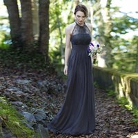 Wholesale Strapless Halter Dress - SA233 Cheap Summer Beach Long Cheap Backless Halter Chiffon Gray Lace Bridesmaid Dresses 2016
