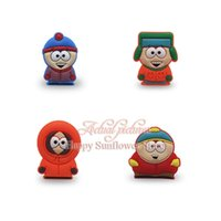 Wholesale 4pcs South Park cute cartoon PVC badges brooch classical shoes and hats brooch Lapel PVC pins buttun kid favorite party gifts