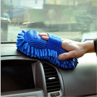 Wholesale Microfiber Auto Royalblue Soft Ultrafine Fiber Car Chenille Anthozoan Washable Handy Car Cleaning Sponge Tool Car Care Gloves