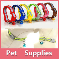 bell goggles - Colorful Pet Dog Puppy Cat Kitten Soft Glossy Reflective Collar Safety Buckle with Bell Pet Supplies