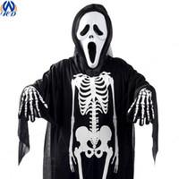 Wholesale 2016 Hot Sale Halloween Cosplay Skull Ghost Costume Uniform Horror Scream Mask Skeleton Gloves Set Drop Shipping WS0011