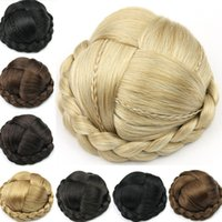 Wholesale New Arrival Colors Large Size Knitted Hair Chignon Donut Roller Hairpieces Synthetic Hair Fake Hair Bun