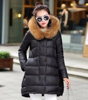 Wholesale Clearance winter New womens Down coat Jacket with large raccoon fur hooded mid long Slim Winter coats for women outerwear