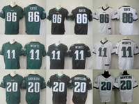 Wholesale 2016 New Elite Mens Carson Wentz Brian Dawkins Rueben Randle Black Green White Stitched Free Drop Shipping