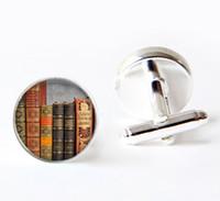 Wholesale photo glass cabochon Vintage books cuff links cufflinks Book lover cuff links Books jewelry