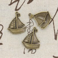antique boat - 50pcs Charms ship boat mm Antique Making pendant fit Vintage Tibetan Bronze DIY bracelet necklace