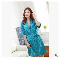Wholesale Sexy Cheap Women Nighties - Wholesale-Cheap New 2016 Brand Silk Women Pajamas Sets Sexy Sleepwear Set Silk Nighties Lady Robe Gown Sets Women Sleeping Clothing Dress