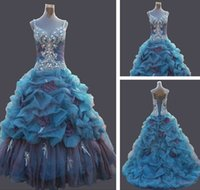 Wholesale In Stock Blue And Purple prom dresses Semi cathedral Train Spaghetti Straps Pick ups Quinceanera Dress New Size