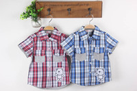Wholesale Baby Boys Clothes Shirts Childrens short Sleeve for Kids Clothing fashion bear grid New summer clothing